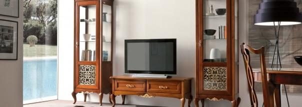 Итальянский набор для гостиной: витрина и тумба «Memorie Veneziane art 1″
